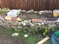 Flower bed, rockery and top soil