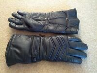 Black leather motorcycle gauntlets - men's