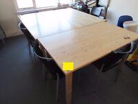 3 beech block Tables, 1350mm x 740mm,