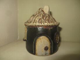 Vintage Handmade Pottery Money Box African Round Hut Tribal Native Ethnic Africa Money Bank
