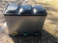 Recycling bin three compartments