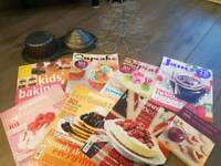 Cake books, mags, tin and stand