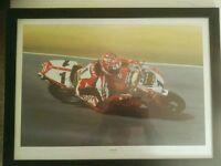 Ducati framed painting print Carl Fogarty 'King Carl'