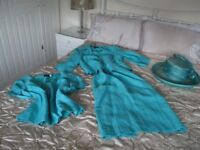 STUNNING MOTHER OF THE BRIDE/RACES OUTFIT, 14, 3 PIECES & MATCHING HAT, CLEAR TURQUOISE, VGC