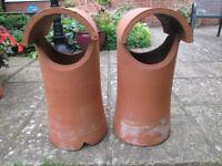 Two vintage Terracotta Chimney Pots