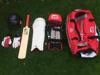 Junior cricket helmet, gloves, pads, bag, 2x bats & stumps