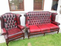 3 Seater+1 Queen Anne Wingback Chesterfield Sofa