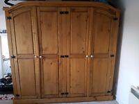 Large 4 door solid pine wardrobe