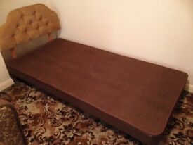 Single divan bed base on Castors and Padded Headboard - no mattress