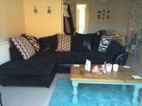 Black DFS corner sofa
