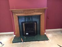 Oak fireplace and marble