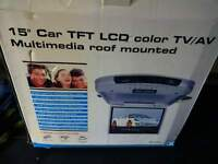 """15"""" In Car Roof Mounted TV/DVD Player New in Box"""