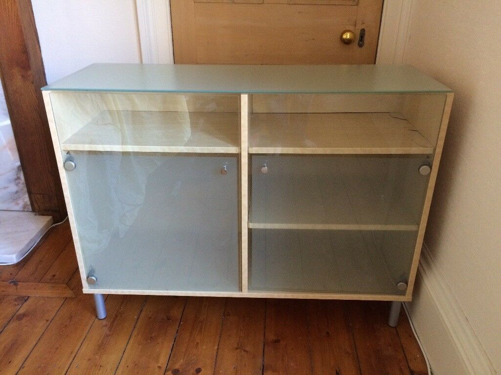birch and glass cabinet / cupboard / sideboard