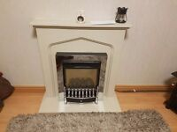 Marble fireplace with flueless gas fire