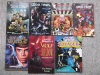 7 graphic novels - Star Trek, Star Wars, Doctor Who, DC Comics Legends, Wolf in Shadow