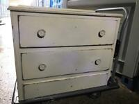 Vintage shabby chic finish chest 2 drawers FREE DELIVERY PLYMOUTH AREA
