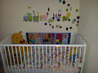 White solid wood cot bed