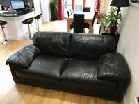 X2 Black Leather 2 seater sofa - great condition