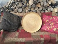 45cm Handmade Bamboo Wooden Plate Dish Bowl