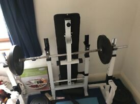 Weight bench and 100kg in weights