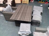 BRAND NEW RATTAN DINING TABLE WITH ARMCHAIR AND STOOLS