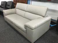 New/Ex Display Reid Liberata Grey Leather 3 Seater