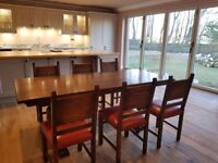 Oak Refectory Table with 6 Oak Chairs