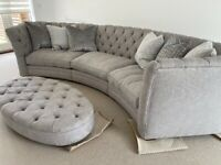 Beautiful Curved Sofa with Oval Footstool