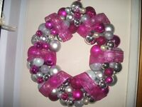 Pink and Silver Bauble Wreath