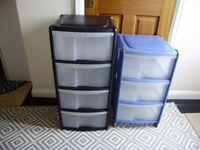 Drawers, only one blue plastic drawers, on back wheels, good condition