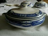 Blue and white ceramic serving dishes
