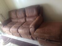 Stylish 3 seater recliner sofa for sale with large storage foot stool -Like new (Delivery available)