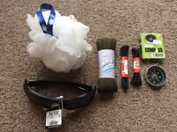giving away new compass, shoe laces, sun glasses and body sponge