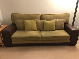 Leather and Fabric 3 seater settee