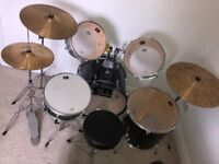 5 piece black CB Drum Kit with hi-hat, ride and crash cymbals - stool included