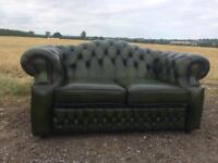 Stunning Saxon classic Green Leather Chesterfield 2 Seater Sofa
