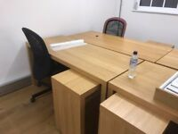 10 Office Chairs and Desks - (can be sold as a set or separately)