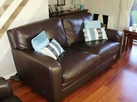 Two quality Iitalian leather sofas - 1x3-seater and 1x2-seater, brown, very good condition.