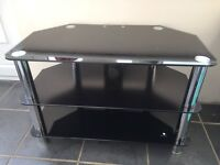 3 tier tv stand glass and chrome
