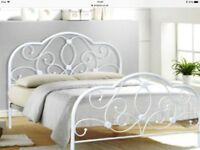 Metal white double bed frame