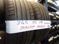 MATCHING PAIR 245 50 18 DUNLOP SPORT RUN/FLATS 6mm TREAD £80 PAIR SUP & fittd 7dys opn sunday 4pm