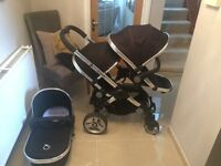 Icandy Peach in Black Double Buggy Pushchair Stroller with Carrycot