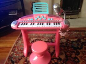 Toy piano with microphone
