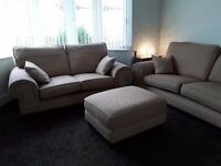 3 seater & 2 seater sofas plus matching footstool. £150. Buyer collects. No rips, chunky style.