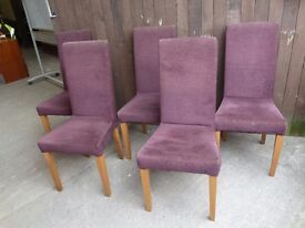 5 x Purple Dining Chairs Delivery Available