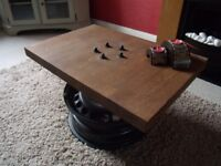 Industrial Coffee/Side Table in Solid Oak. Car Furniture/Upcycling. Great Quality. £30 ONO