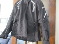 Ladies cordura motorcycle jacket XL fits 14/16 worn twice removable inner fleece