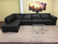 Extra Long Brown Leather Corner Sofa