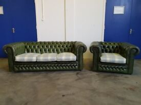 ANTIQUE GREEN LEATHER CHESTERFIELD LOUNGE SUITE 3 SEATER SOFA & CLUB CHAIR DELIVER AVAILABLE