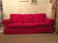 IKEA SOFA - Three Seater in Red with washable covers. Good condition. Very comfortable.